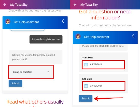 Select Reason Start Date and End Date - Tata Sky Temporary Account Suspension