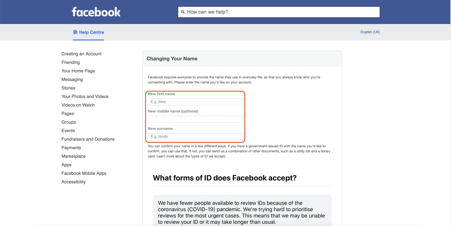 How to Change Facebook Profile Name if Maximum Name Change Limit Reached