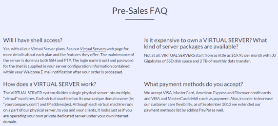 Pre-sale faq's for Rose Hosting service
