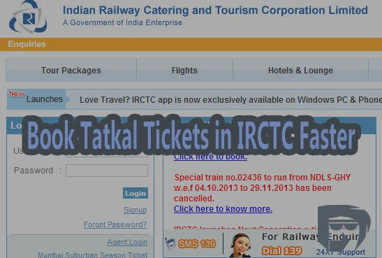 Book tatkal tickets in IRCTC faster