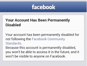 Facebook Account That Was Permanently Disabled