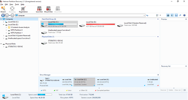 Hetman Partition Recovery Dashboard