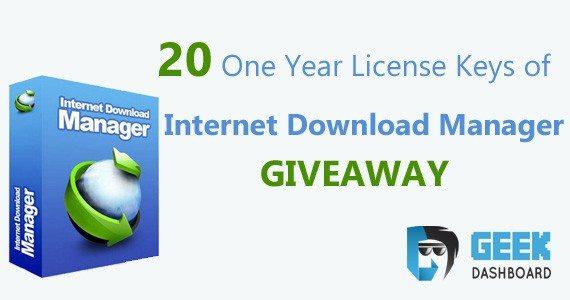 Internet Download Manager For Free GiveAway 10 License keys