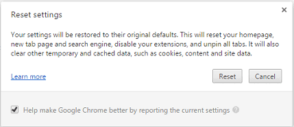 confirm action to reset settings in chrome