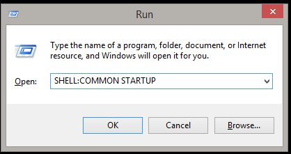 Startup folder in Windows 8