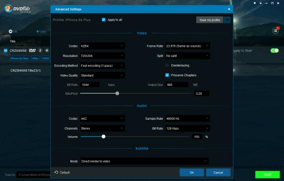 Advanced settings panel