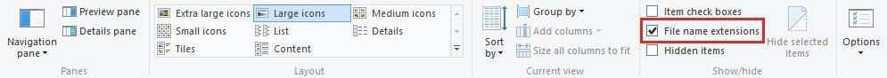 change file extension in windows 10