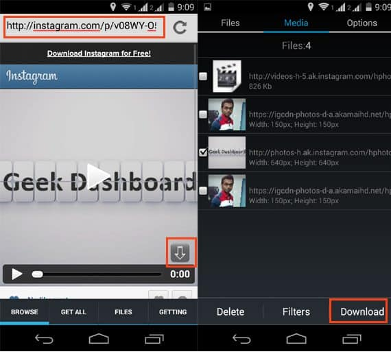 download instagram videos to Android