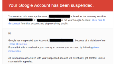 google account ban