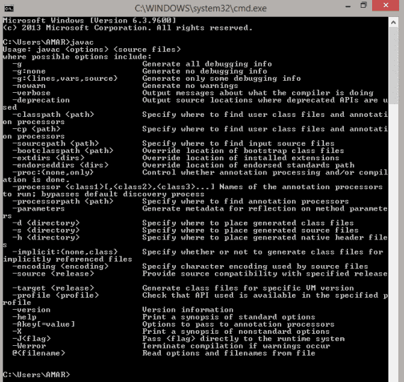 Type javac in command prompt