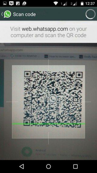 whatsapp web option to scan qr code